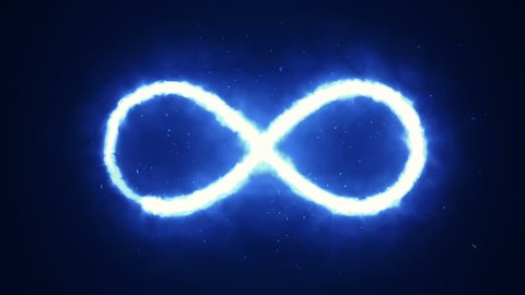 Animation appearance of infinity shape from fire on dark background.