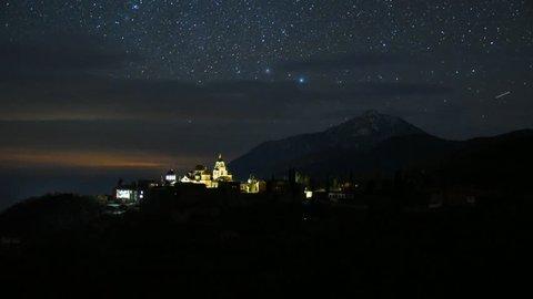 St Andrews Skete an night timelapse, Mount Athos