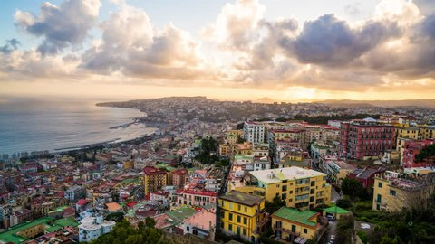 Naples - 26 FEB: Timelapse view of clouds moving over the city during sunset on 26 February 2016 in Naples, Italy