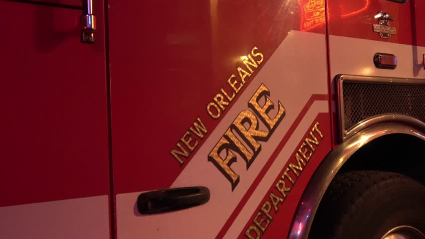 NEW ORLEANS, LOUISIANA - APRIL 17, 2016 New Orleans Fire Department car at night