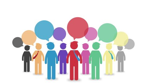 Colorful cartoon animation of  pictograms with speesh bubble. Diversity People Discussion Brainstorming Speech Bubble Concept,  Team work communication concept