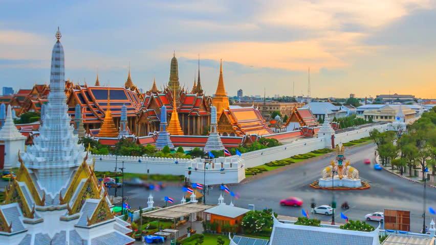 Time lapse landmark of Bangkok Wat Phra Kaeo or Temple of the Emerald Buddha in Bangkok City, Thailand