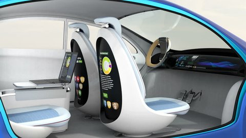 3D animation of autonomous car interior. Rotatable backrest equip with LCD monitor.