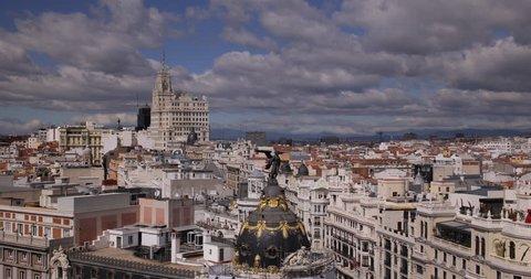 Pan Right Madrid Establishing Shot Aerial View Skyline Landmarks Sightseeing Day ( Ultra High Definition, UltraHD, Ultra HD, UHD, 4K, 2160P, 4096x2160 )