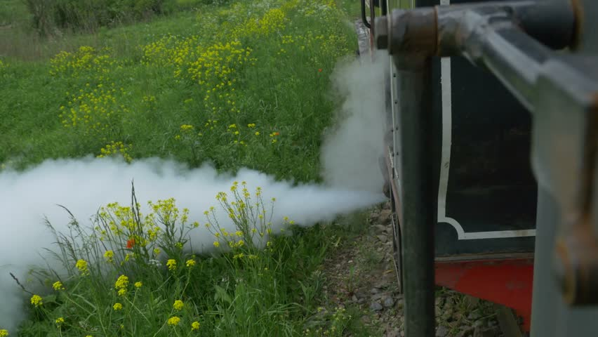A steam train evacuates the steam by a blast valve, when stopped. | Shutterstock HD Video #16664971