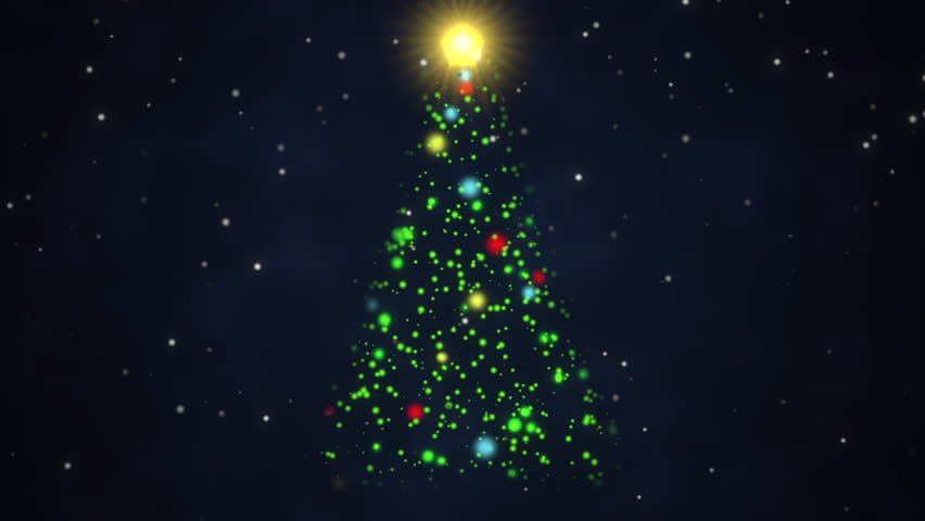 Animated Christmas Tree With A Bright Tree Topper Poised Against A Dark,  Evening Background With Falling Snow Stock Footage Video 16672213 |  Shutterstock