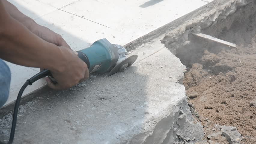 Cutting Control Groove In Concrete Stock Footage Video