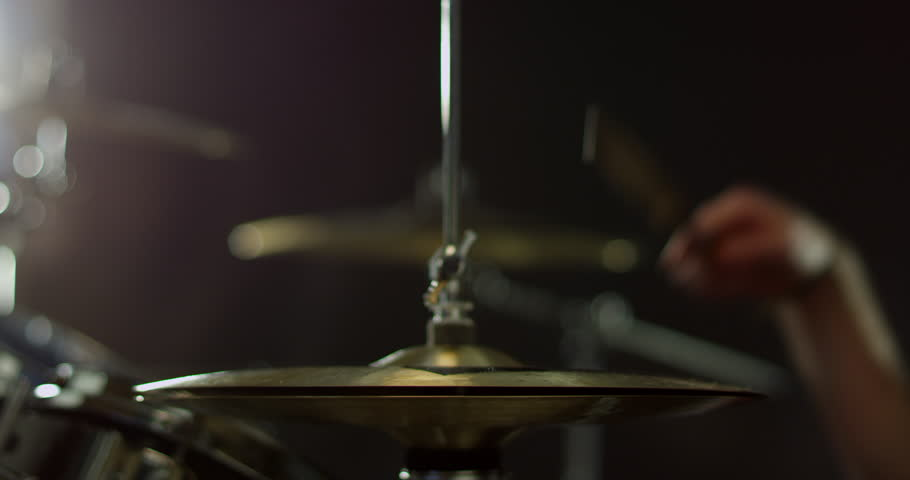 Close Up Of Drummer Playing Drum Kit Shot On R3D