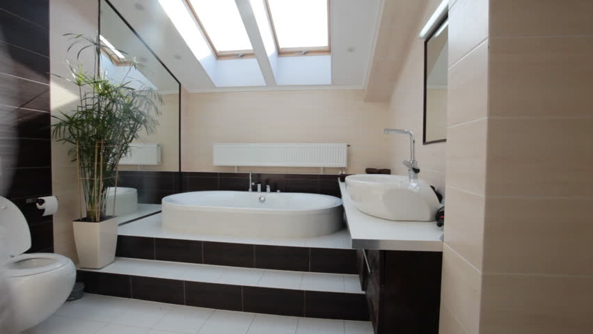 Pan Of Outdoor Bathroom Or Rainforest Shower In A Luxury Private ...