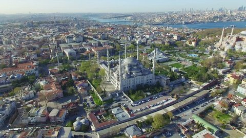Blue Mosque and Hagia Sophia - aerial view from drone of famous landmarks in Istanbul, Turkey