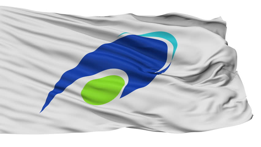 Tsu Capital City Flag, Mie Prefecture of Japan, Isolated Realistic 3D Animation, Slow Motion, Seamless Loop - 10 Seconds Long