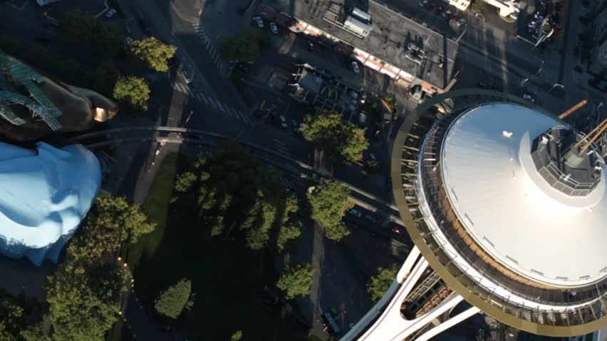 SEATTLE WASHINGTON/USA - SEPTEMBER 2013: Aerial Seattle Space Needle and Seattle Center