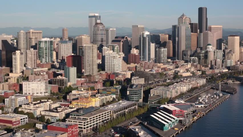 Aerial Seattle, Washington City Downtown Waterfront Property | Shutterstock HD Video #16729750