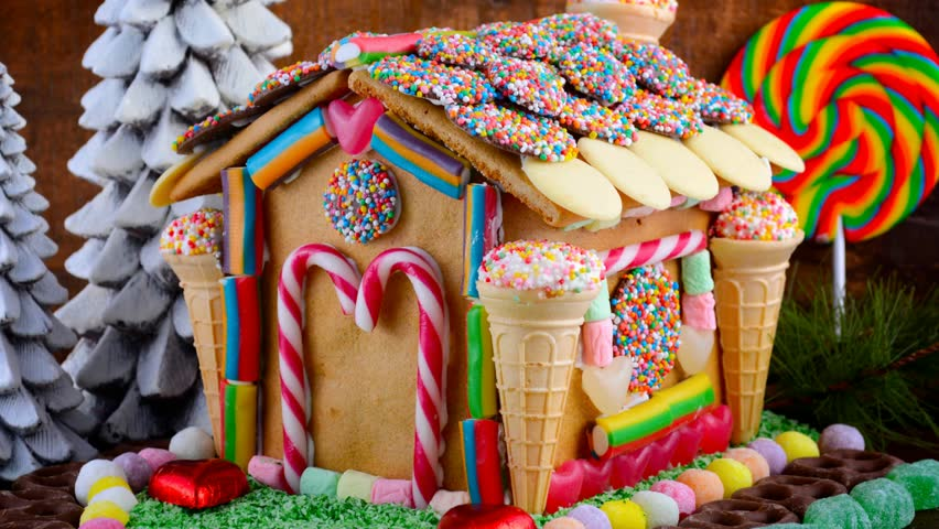Christmas Gingerbread House.Festive Christmas Gingerbread House Decorated Stock Footage Video 100 Royalty Free 16730293 Shutterstock