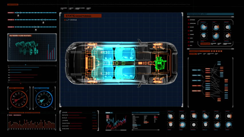 Automobile Technology. Drive shaft system, Engine, interior seat. X-ray Top view. in digital display panel. user interface.