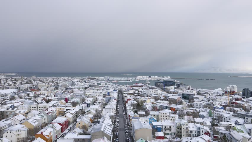 Aerial view of Reykjavik, the capital city of Iceland.