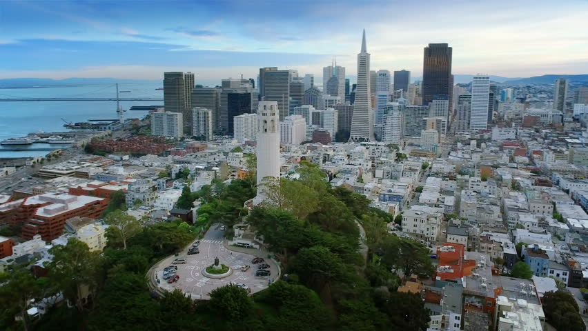 Aerial view of The Coit Tower and the financial district. San Francisco, California. USA. Shot from helicopter.