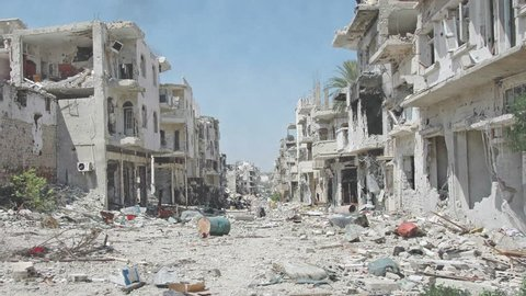 Syria Pan Dolly shot aftermath destroyed city