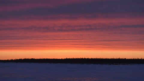 Time-lapse photography of sunset in Siberia on the Yamal Peninsula