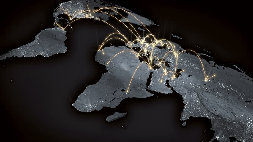 Growing global network across the world map. Internet and business concept. Orange version. 4K  | Shutterstock HD Video #16824394