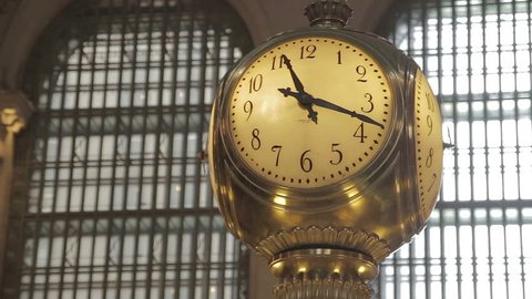 Slow spin around clock in Grand Central station in New York City. New York City, New York - USA: September, 2015