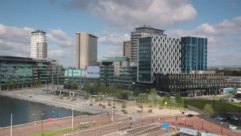 SALFORD QUAYS, MANCHESTER, UK; 15TH MAY 2016, Elevated time-lapse footage of the newly redeveloped Mediacity in Salford Quays, Manchester