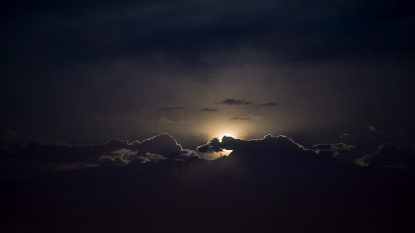 Moon rise from the mountain. Timelapse