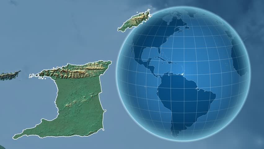 Trinidad and tobago shape animated on the elevation map of the trinidad and tobago shape animated on the relief map of the globe 4k stock video gumiabroncs Image collections