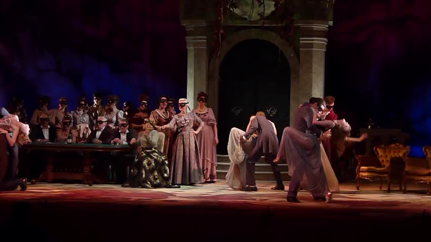 DNIPRO, UKRAINE - MAY 20, 2016: Traviata opera performed by members of the Dnipropetrovsk Opera and Ballet Theatre.