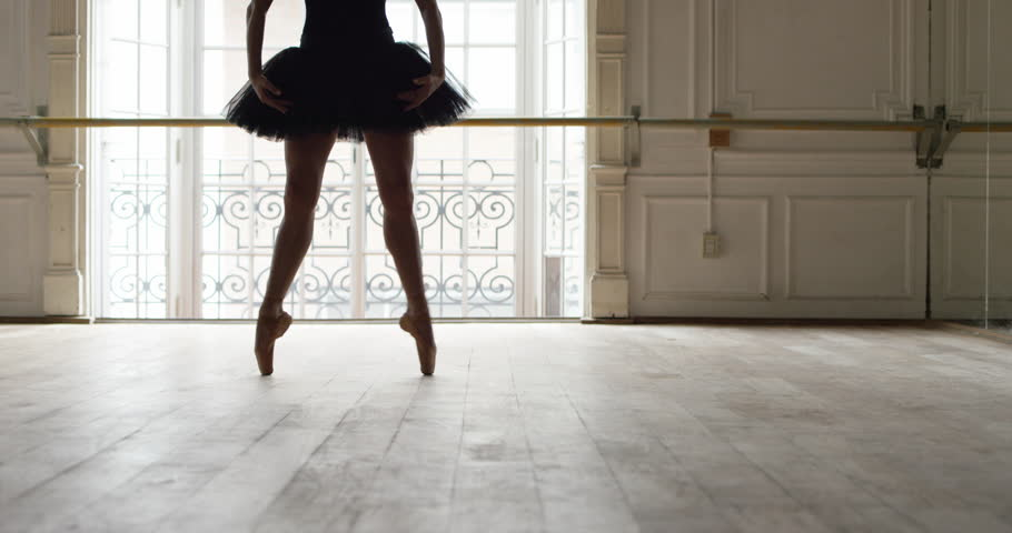 Buenos Aires, Argentina - February 27, 2015: Slow motion shot of ballerina dancing in studio