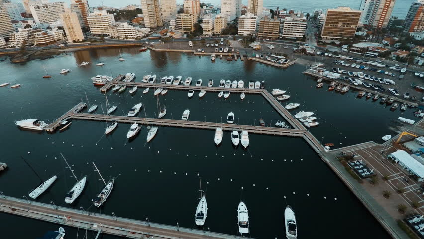 Punta del Este, Uruguay - March 16, 2015: Aerial view of boats docked in marina near resorts, Punta del Este, Uruguay