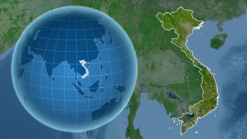 Vietnam Shape Animated On The Satellite Map Of The Globe Stock - Hd satellite map