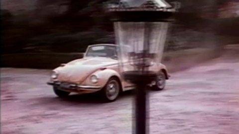 Volkswagen Beetle Pulls Up - Vintage 16mm Film. San Fransisco, USA, 1970s