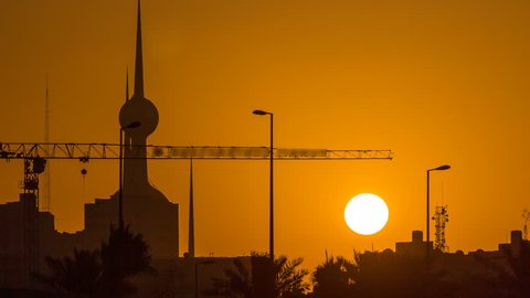 Sunrise with Kuwait Towers timelapse - the best known landmark of Kuwait City. Kuwait, Middle East