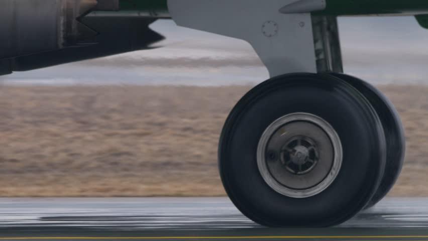Airplane Wheel rotation, closeup, 2160p, UHD, 4k