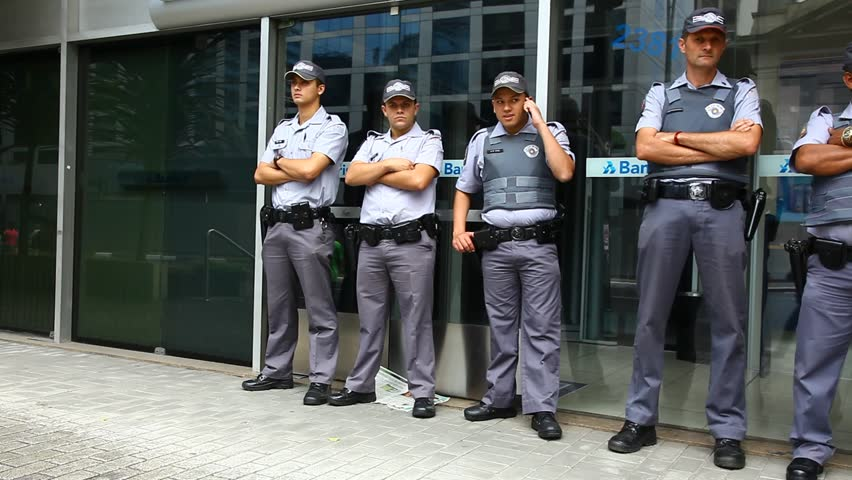SAN PAULO, BRAZIL - CIRCA JUNE 2011: Military police stand attentively in line circa June 2011 in San Paulo.
