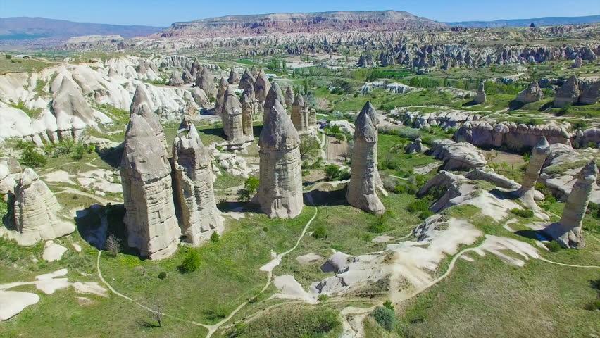 Aerial view of rocks in Goreme National Park, Cappadocia, Turkey