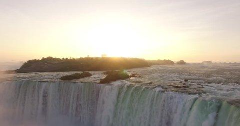 4K Aerial view of Niagara Falls. Flying away from the falls.