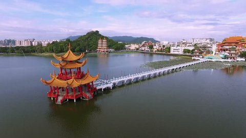 Aerial shot of Kaohsiung's famous tourist attractions - Lotus Pond, many Chinese tourists to visit the area, of which the best known dragon towers, Taiwan