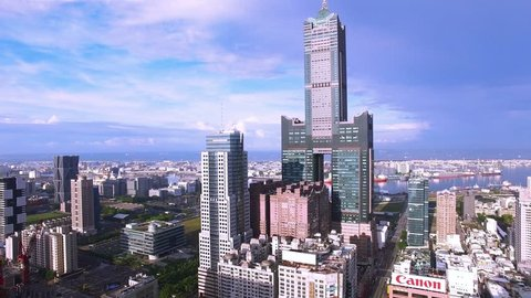 Aerial view of the Kaohsiung habor- Taiwan/Aerial shot of Tuntex Sky Tower and the exhibition center in Kaohsiung, Taiwan
