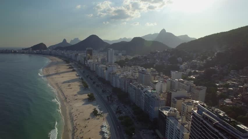 Aerial flight over Copacabana Beach, Rio de Janeiro, Brazil