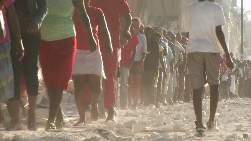 PORT-AU PRINCE, HAITI - CIRCA 2010: refugees waiting around circa 2010 in Haiti.