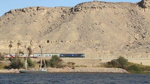 View of passenger train between Luxor and Aswan