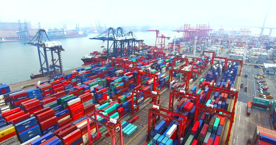 HONG KONG, CHINA - APRIL, 1: Flying above a lot of cargo containers in port of Hong Kong. Aerial.		 | Shutterstock HD Video #17108503