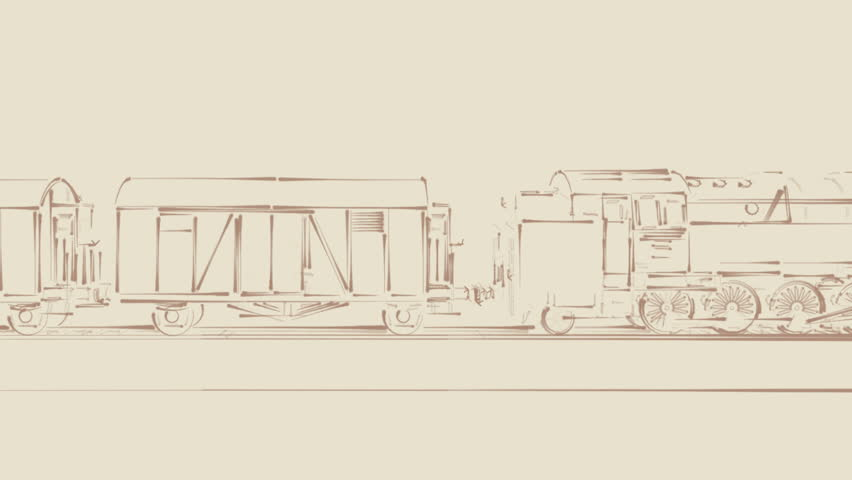 Old steam locomotive train with freight rail cars royalty free video old steam locomotive train with freight rail cars moving on the railroad on vintage background outline sketch blueprint cartoon 2d animation side view malvernweather Gallery