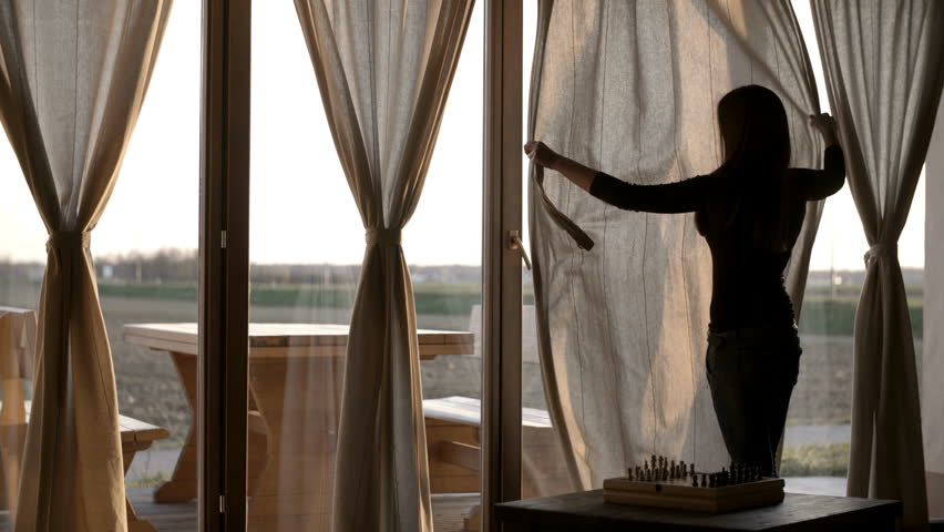 Stock Video Of Woman Open Curtains At Evening 4k