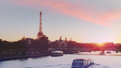 Paris, Seine river at amazing sunset