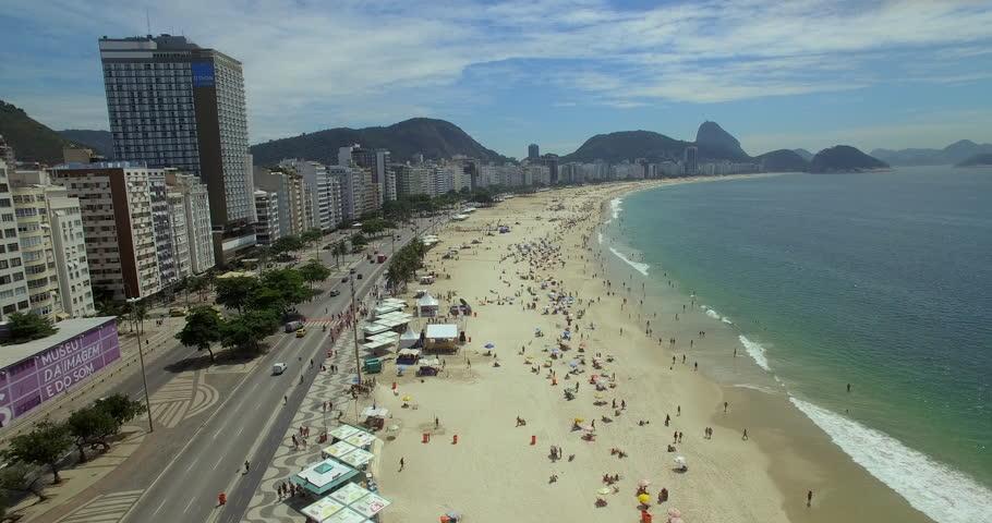 Aerial view Copacabana Beach Rio De Janeiro, Brazil (February 01, 2016 - Rio De Janeiro, Brazil) | Shutterstock HD Video #17157493