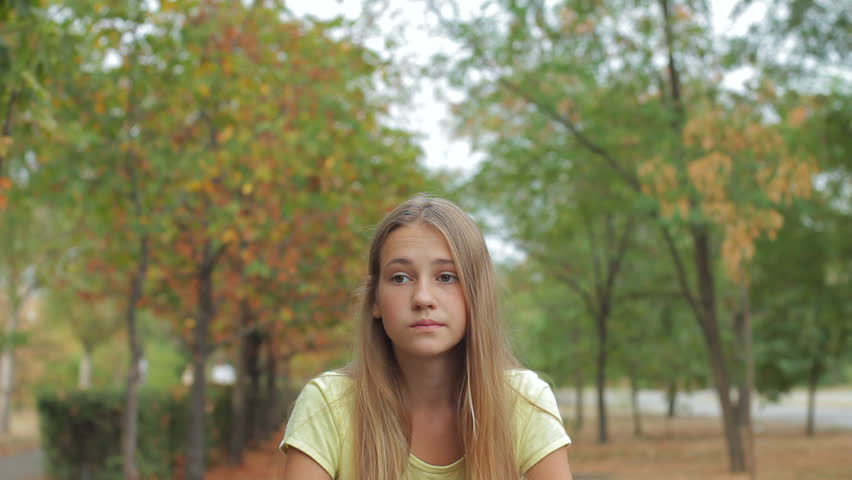 Confused Sad Teen Girl Outdoors, Stock Footage Video 100 -3337