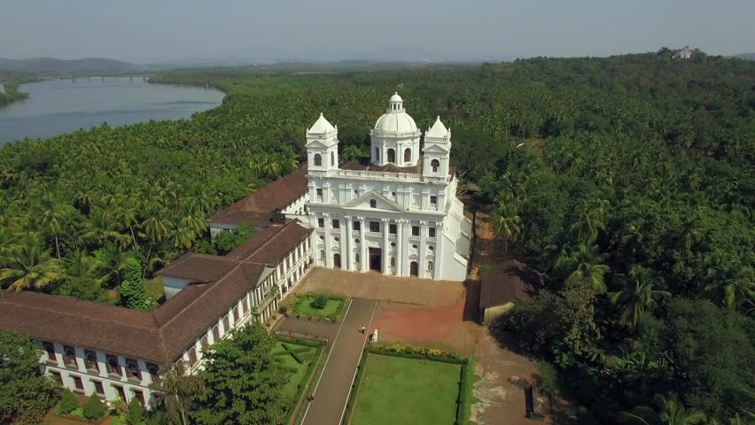 Aerial view of the old church in Panaji, India.
